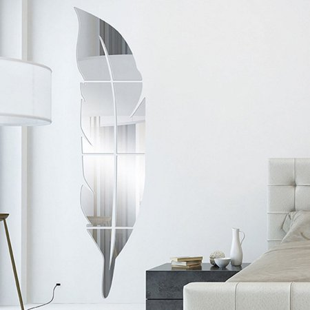 Removable Feather (Removable Feather Mirror Wall Stickers Decal Art Vinyl Home Room Decoration DIY)