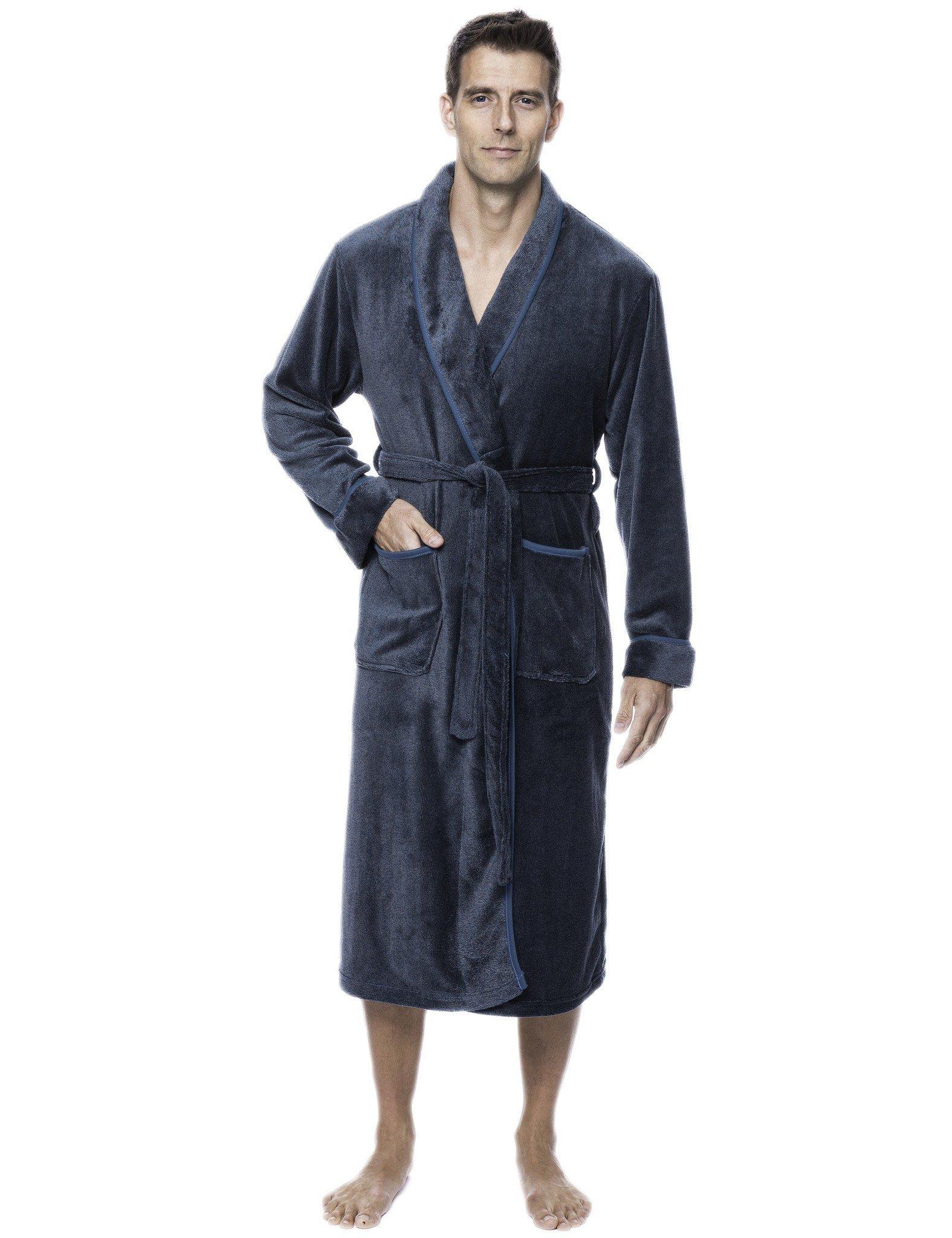 Mens Premium Coral Fleece Plush Spa/Bath Robe - Marl Navy/Grey - 2XL/3XL