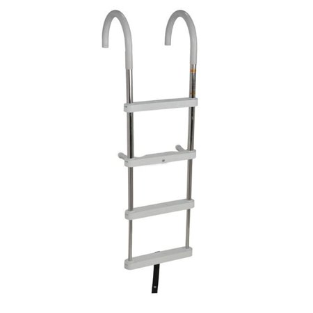 RecPro Marine Products 304SS 4 STEP TELESCOPING GUNWALE LADDER WITH STAND OFFS. WHITE