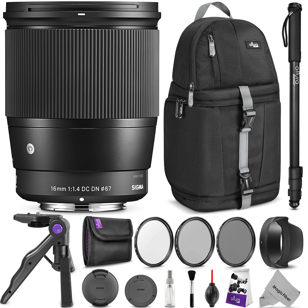 Sigma 16mm F1.4 DC DN Contemporary Lens for SONY E Mount Cameras w/ Advanced Photo and Travel Bundle