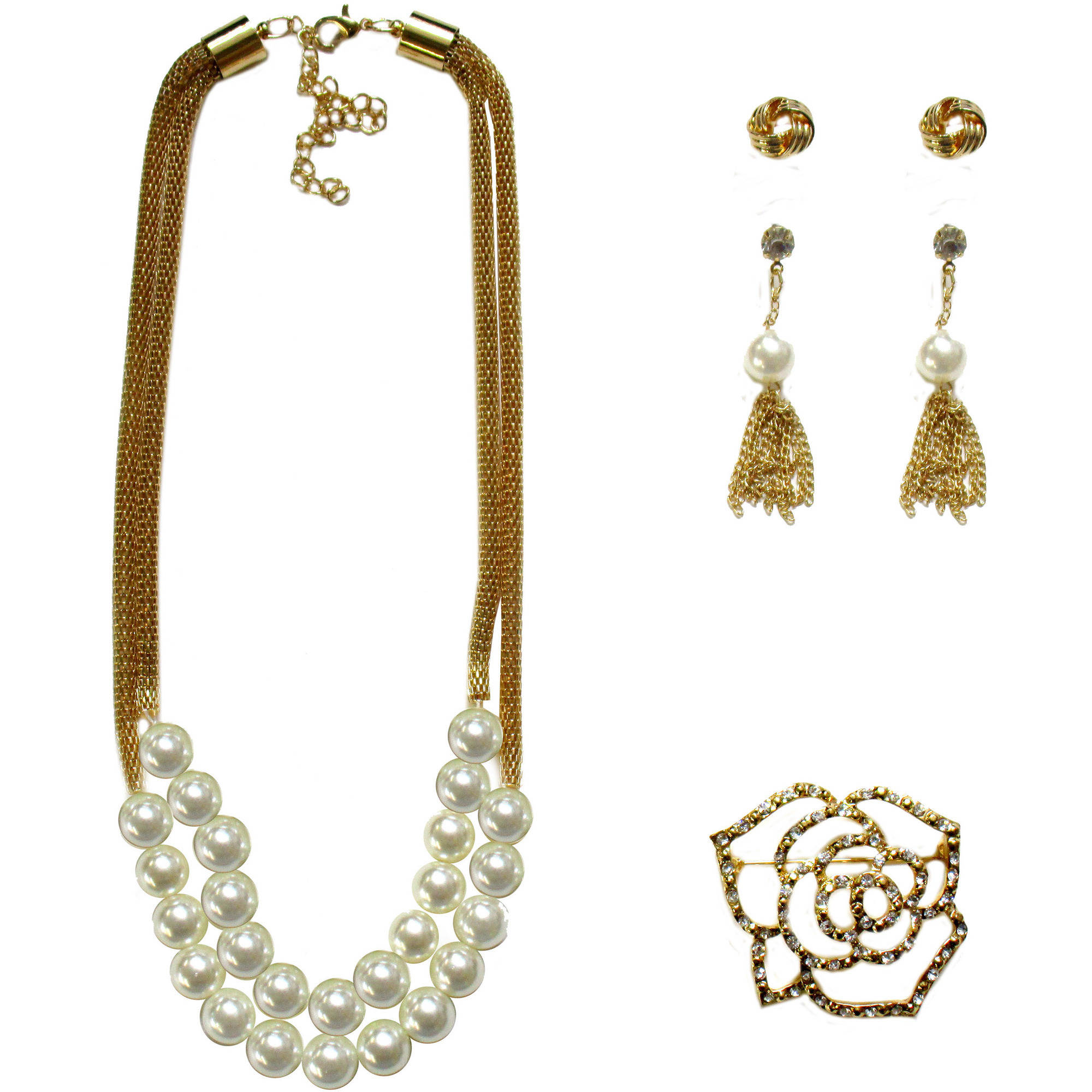 Faux Pearl Necklace, Earrings and Flower Stone Pin Gift Set, 3-Piece