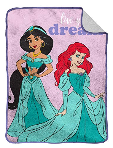 Jay Franco Disney The Little Mermaid Sea Dreams Raschel Throw Blanket Official Disney Product Fade Resistant Super Soft - Kids Bedding Features Ariel Measures 43.5 x 55 inches