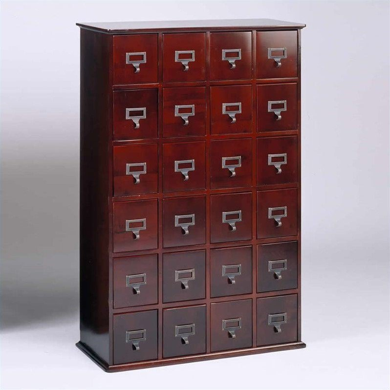 "Leslie Dame 40"" 24-Drawer Storage Cabinet in Cherry"
