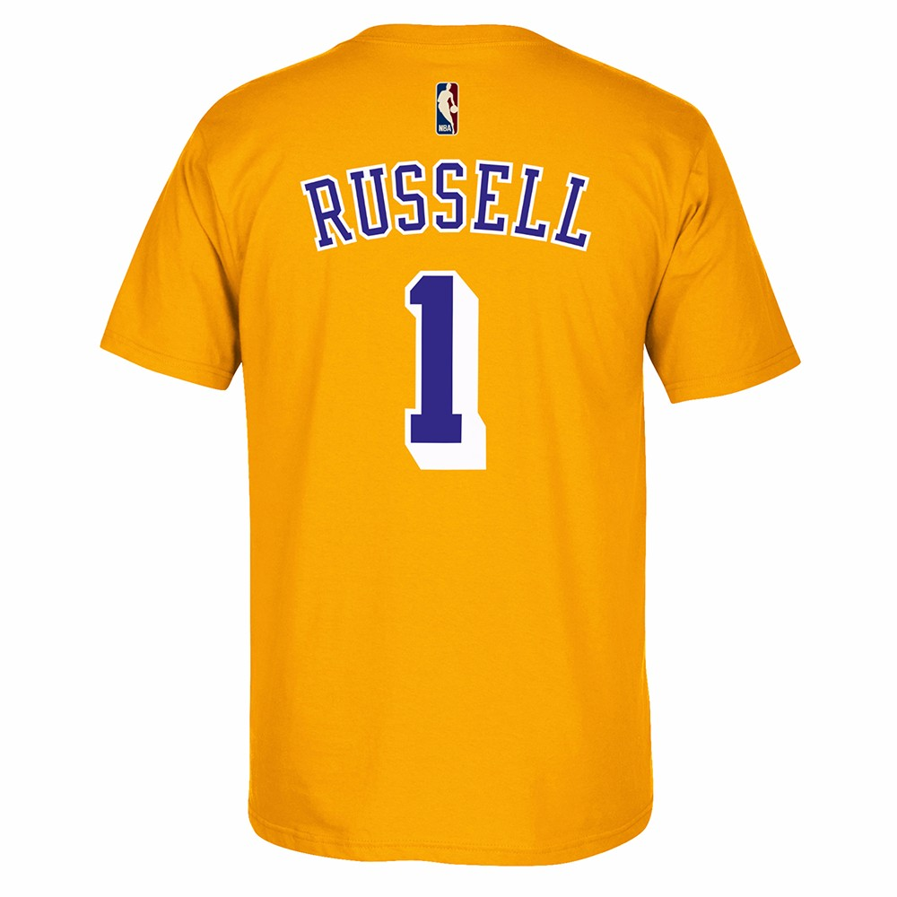 D'Angelo Russell Los Angeles Lakers NBA Adidas Gold Hardwood Classic Retro Player N&N Jersey T-Shirt For Men