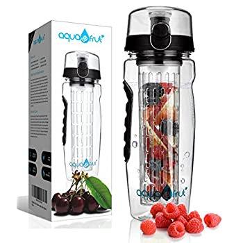 AquaFrut 32 OZ Fruit Infuser Water Bottle BPA-Free Fruit Infusion Sports Bottle - Flip Top Lid w Drinking Spout, Leak Proof, Made of Durable Tritan. Free Recipe eBook! (Black)