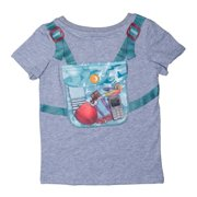 Planet Boys Grey Blue Camouflage Backpack Playful T-Shirt 7/8