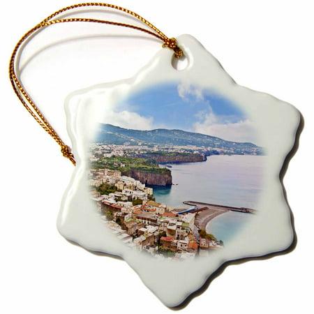 3dRose Italy, Tyrrhenian sea, Sorrento, Gulf of Naples - EU16 MGL0088 - Miva Stock, Snowflake Ornament, Porcelain, 3-inch
