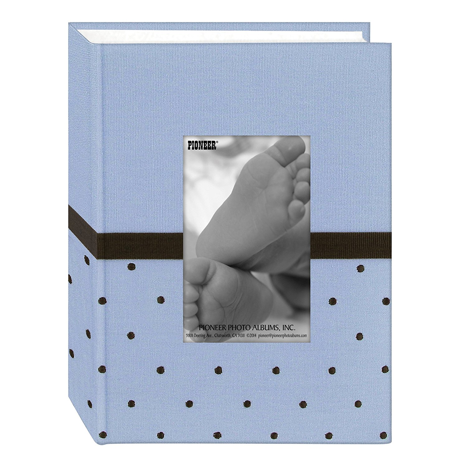 Pioneer Embroidered 100 Pocket Frame Fabric Cover Photo Album, Baby Blue