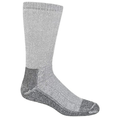 Fruit of the Loom Men's 5-Pack Heavy Duty Work Gear Crew Socks: White, (Shoe Size: 6-12 Sock Size: 10-13) (Responds to Body Temperature, Fully Cushioned Sole, Odor Control, Reinforced Heel &