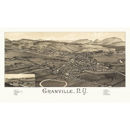 Antique Map of Granville New York 1886 Washington County Poster Print