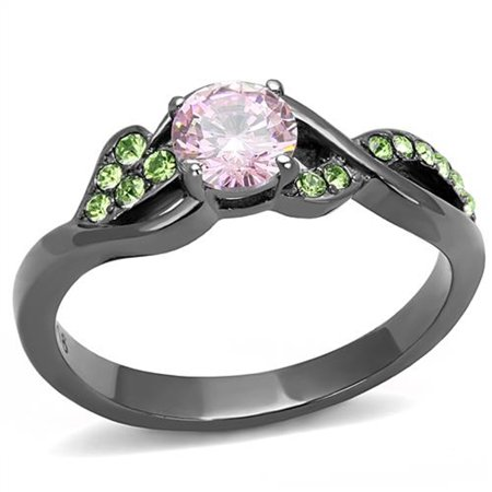 Ladies 6mm Round Fashion Ring (Rose & Green Round Cut Zirconia Gray Stainless Steel Fashion Ring Womens Size 5)