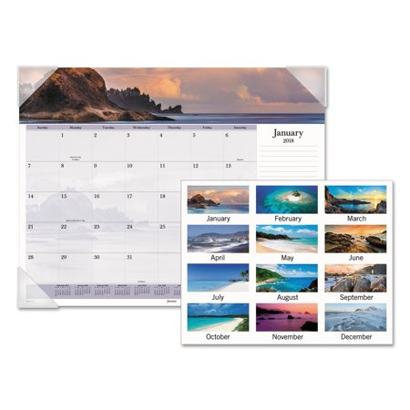 AT-A-GLANCE Images of the Sea Monthly Desk Pad Calendar, 22 x 17, - Sea Monthly Desk Pad Calendar