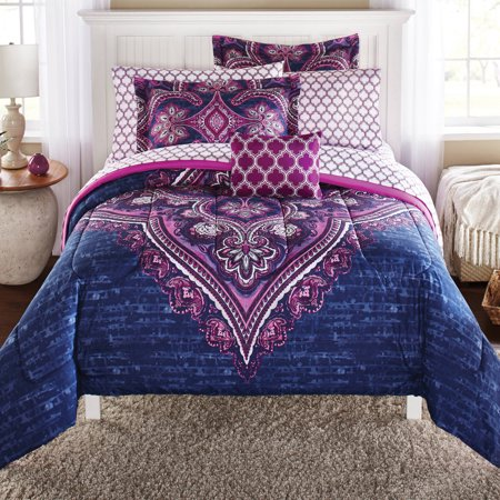 Mainstays Grace Medallion Purple Bed in a Bag Complete Bedding, King