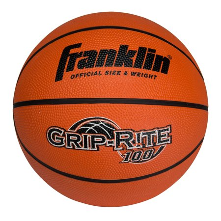100 Mens Leather Basketball (Franklin Sports Grip Rite 100 Rubber Basketball, 29.5)