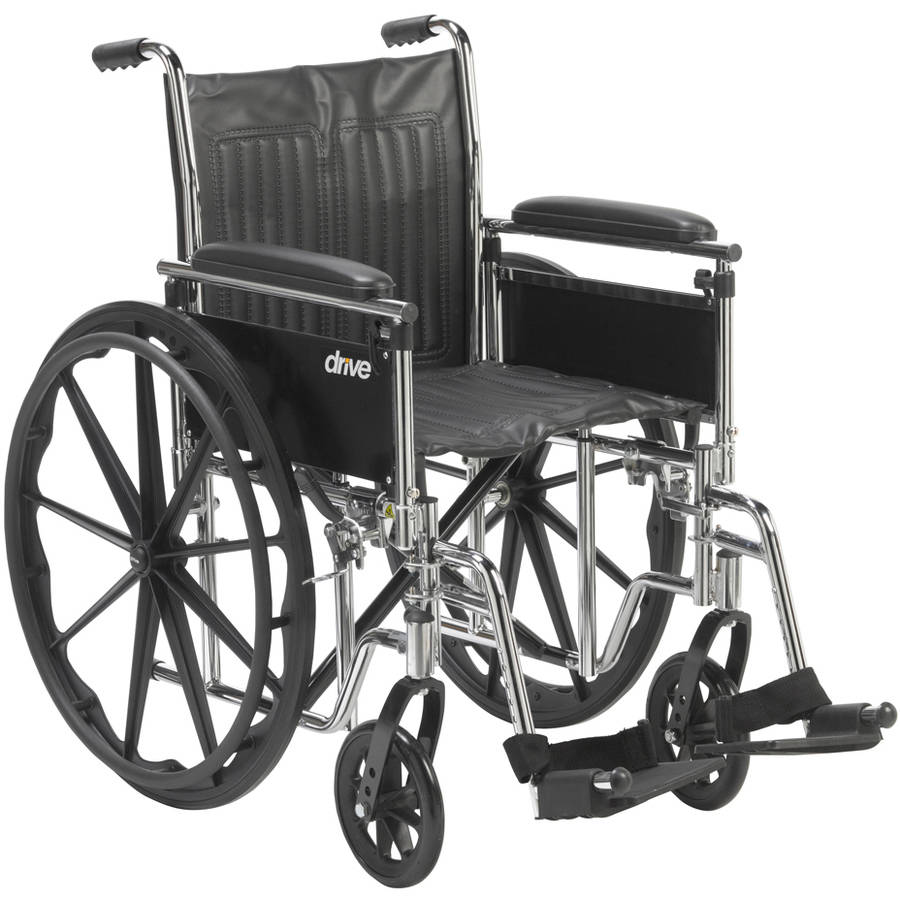 "Drive Medical Chrome Sport Wheelchair, Adjustable and Detachable Arms, 18"" Seat"
