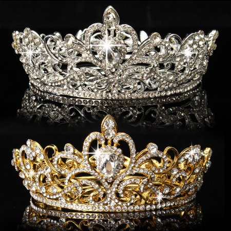 Meigar Crystal Rhinestone King Crown Tiara Wedding Pageant Bridal Headpiece Jewelry,Gold - Big Tiaras