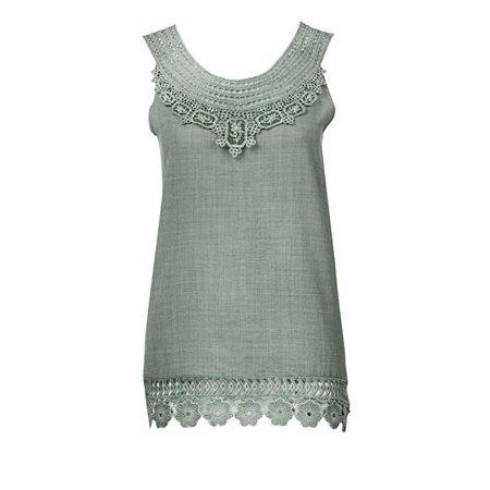 Women O-Neck Sleeveless Pure Color Lace Plus Size Vest Tops Loose T-Shirt Blouse