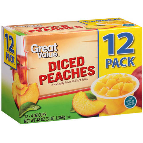 Great Value Diced Peaches, 4 oz, 12 count