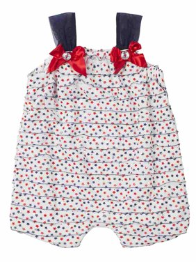 Little Lass Infant Girl Red White Blue Star Romper Sleeveless Creeper