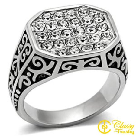 - Classy Not Trashy® Size 13 High Polish Plated Stainless Steel Octagon Men's Crystal Ring