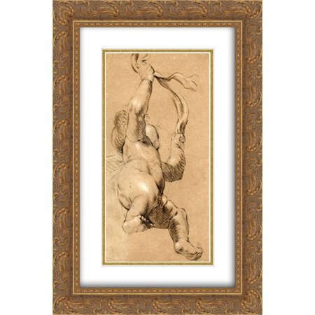 Joshua Reynolds 2x Matted 18x24 Gold Ornate Framed Art Print 'Sketch of Putto Holding a Sash in Both Hands, Seen from Below'