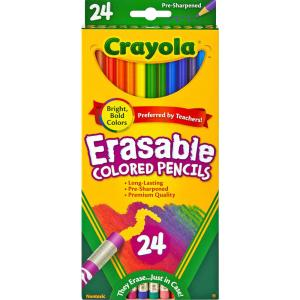 Crayola Erasable colored pencils - 3.3 mm Lead Diameter - Assorted Lead - 24 / Pack PENCILS EASILY MAKE CHANGES