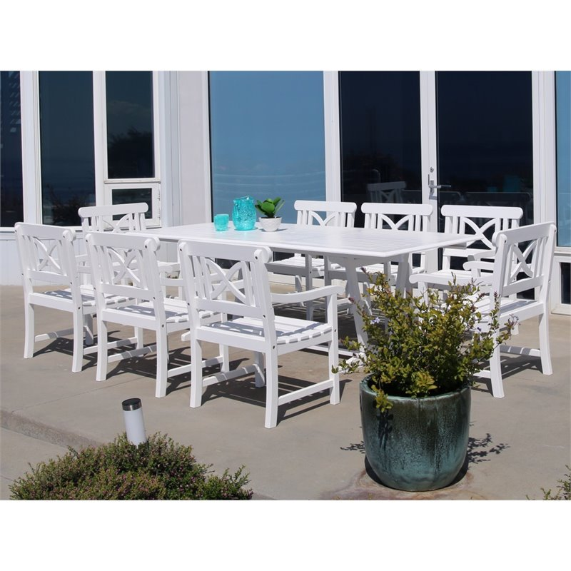 Vifah Bradley 9 Piece Extendable Hardwood Patio Dining Room Set in White by Vifah