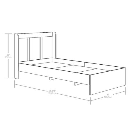 Sauder Parklane Platform Bed, Twin, Multiple Finishes, with Headboard