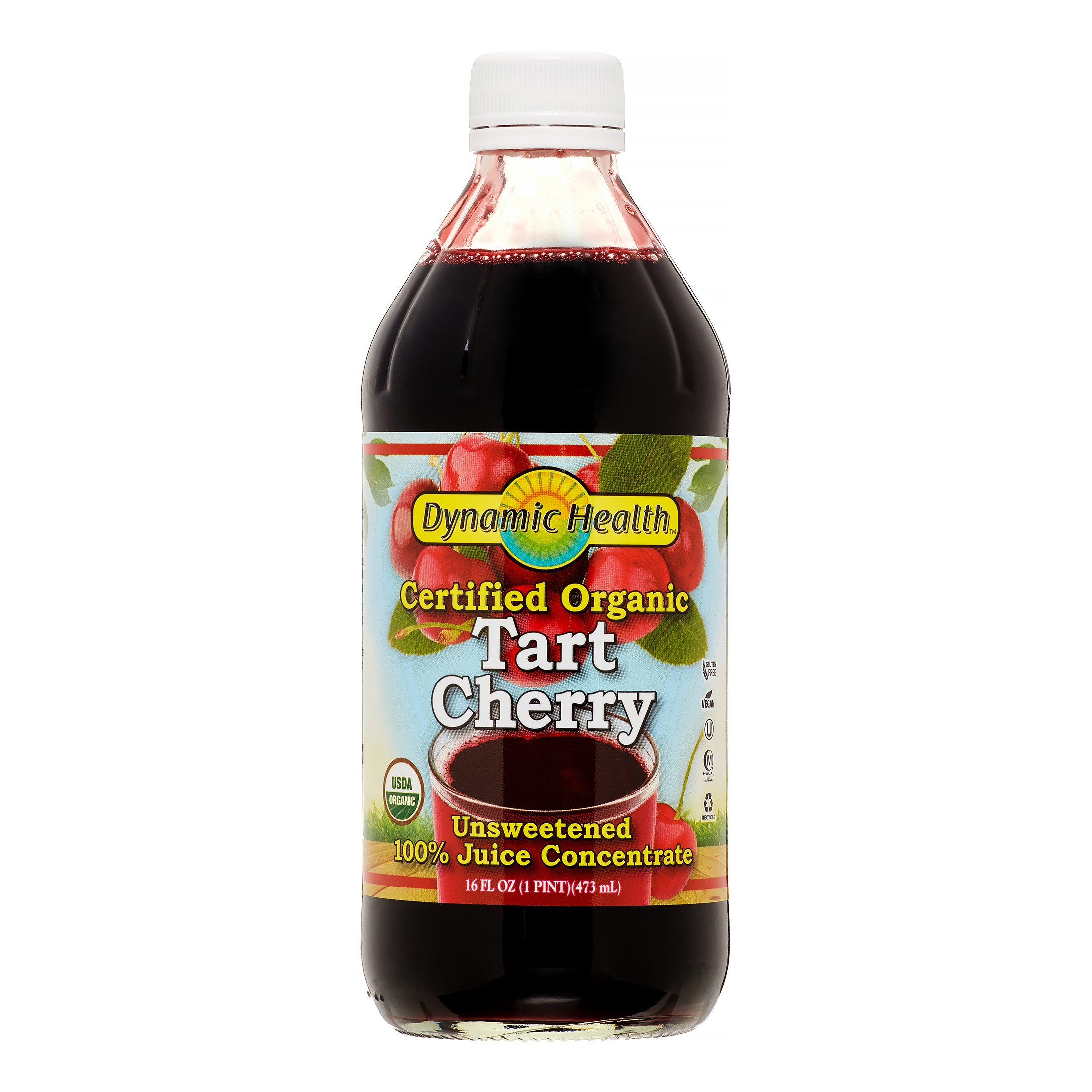 Dynamic Health 100% Pure Organic Juice, Tart Cherry, 16 Oz by Dynamic Health Laboratories Inc