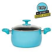 Tasty Ceramic 5 Quart Non-Stick Dutch Oven and Glass Lid, Titanium-Reinforced, Dishwasher Safe, Tasty Blue
