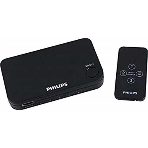 Philips 4 Port 2.2 HDMI Switch with Remote - Black