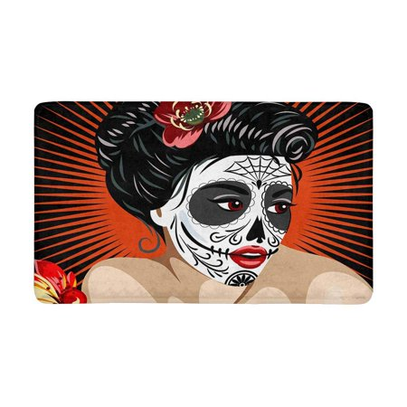 MKHERT Halloween Mexican Girl's Death in Sugar Skull Make-Up Doormat Rug Home Decor Floor Mat Bath Mat 30x18 inch - Halloween In Mexico