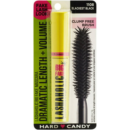Hard Candy Lashaholic Big Fake Intense Volume Mascara, 1108 Blackest Black, 0.35