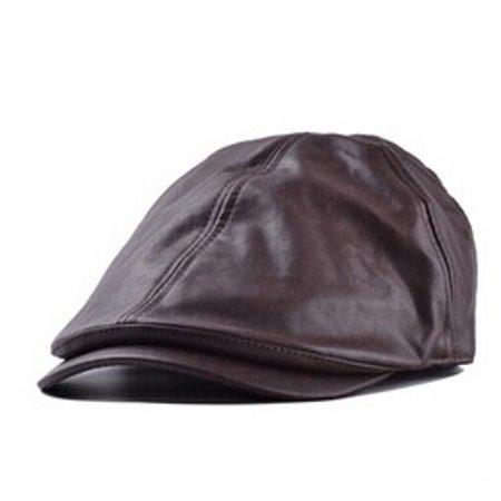 Men s Leather Ivy gentleman Cap Bonnet Newsboy Beret Cabbie Gatsby Flat Golf  Hat 3d915335ad8