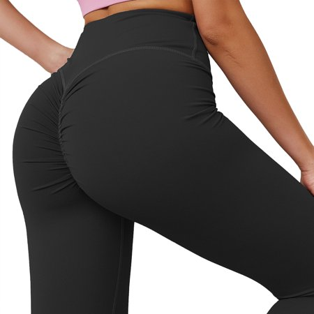 FITTOO Activewear Yoga Leggings Women Sexy Ruched Butt High Waist Yoga Pants Butt Lift Stretchy Workout Gym Leggings Solid Color Trousers Waist Yoga Pants