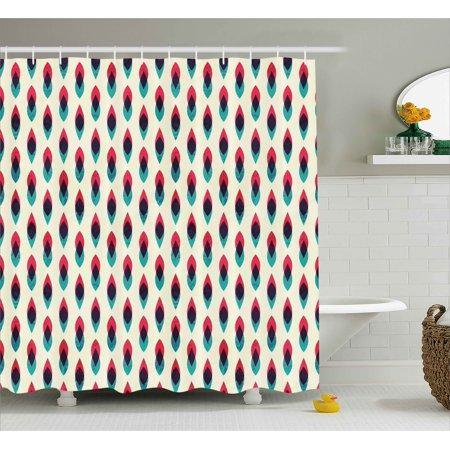 Vintage Shower Curtain Geometric Retro Style Curve Pattern Grunge Ethnic Traditional Design Fabric