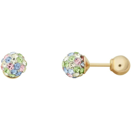 Brilliance Fine Jewelry Children's 10K Yellow Gold with Multi Crystal Front and Back Ball Back Earrings