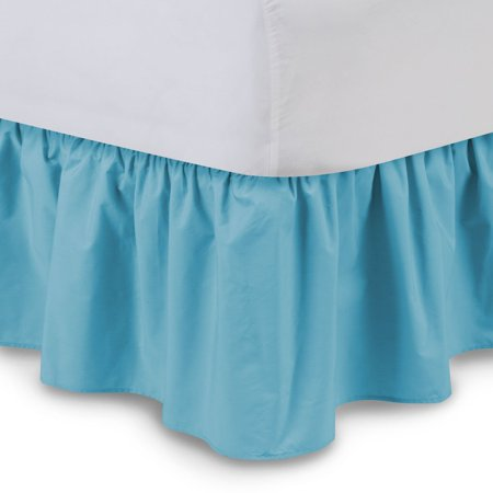 Ruffled Bed Skirt (Cal King, Hunter) 14 Inch Drop Dust Ruffle with Platform,
