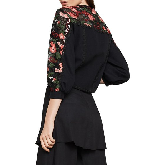 41d465fee9 BCBGMAXAZRIA - Embroidered Lace Cropped Jacket - Walmart.com