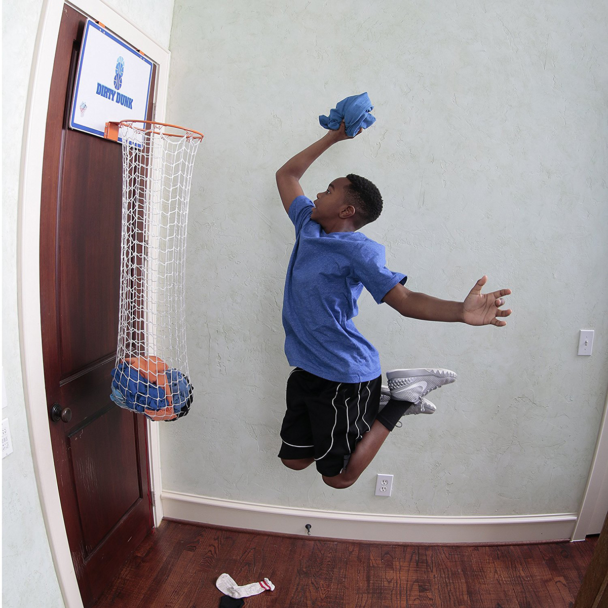 Dirty Dunk (2nd Generation) Basketball Hoop Over The Door Laundry Basket Hamper For Kids & Adults