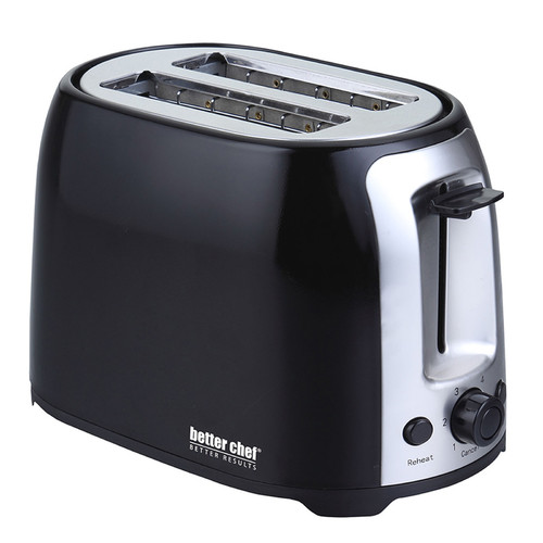 Better Chef 91595026M 2-Slice Extra-Wide-Slot Toaster Black with stainless steel accents