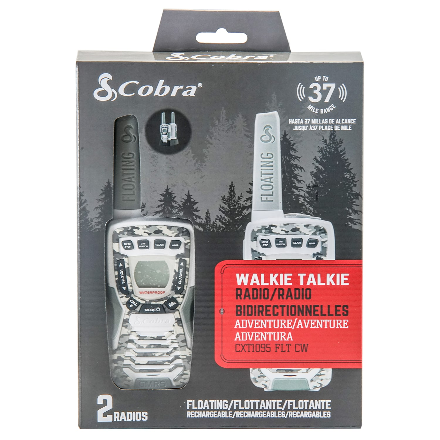 Cobra CXT1095FLT-CW Floating Walkie Two Way Radio, Camo White (Pair)