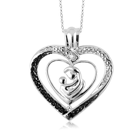 Jewelersclub Black And White Diamond Accent Sterling Silver Mother And Child Heart Pendant