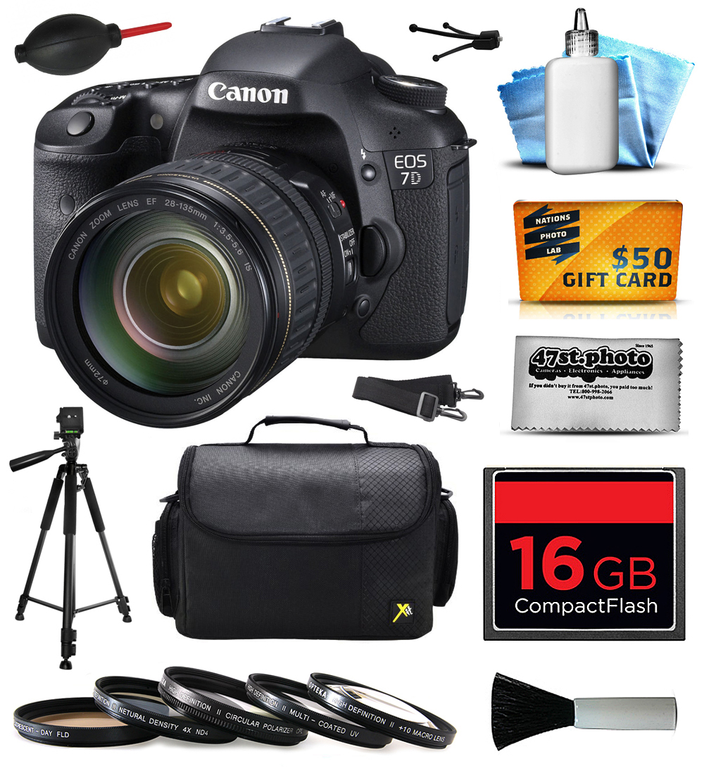 Canon EOS 7D 18 MP CMOS Digital SLR Camera with 28-135mm f/3.5-5.6 IS USM Lens with 16GB Memory, Large Case, Tripod, 5 Piece UV-CPL-FL-ND4-10x Filter, Dust Blower, Cleaning Kit, $50 Gift Card 3814B010