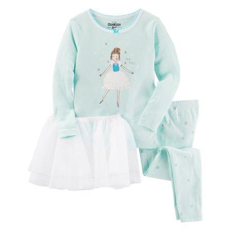 OshKosh B'gosh Baby Girls' 3 Piece Ballerina Tutu Cotton Pajamas, 9 -