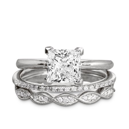 1.50 Carat Princess cut Moissanite and Diamond Solitaire Trio Wedding Bridal Ring Set in White (Princess Cut Diamond Bridal Set 14k White Gold)