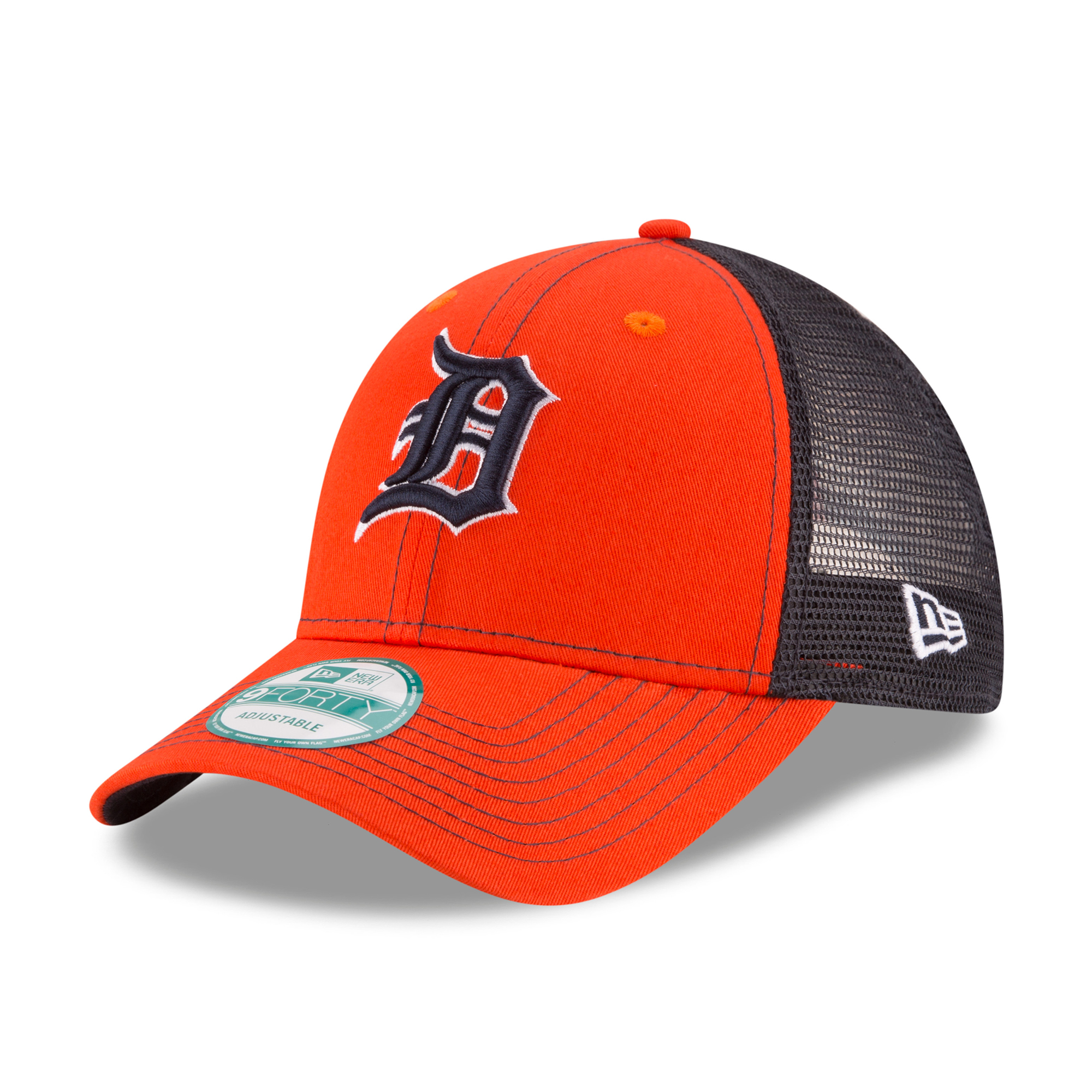 Detroit Tigers New Era Bold Mesher 9FORTY Adjustable Hat - Orange/Navy - OSFA