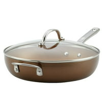 """Ayesha Curry Home 12"""" Collection Porcelain Enamel Nonstick Covered Deep Skillet With Helper Handle"""
