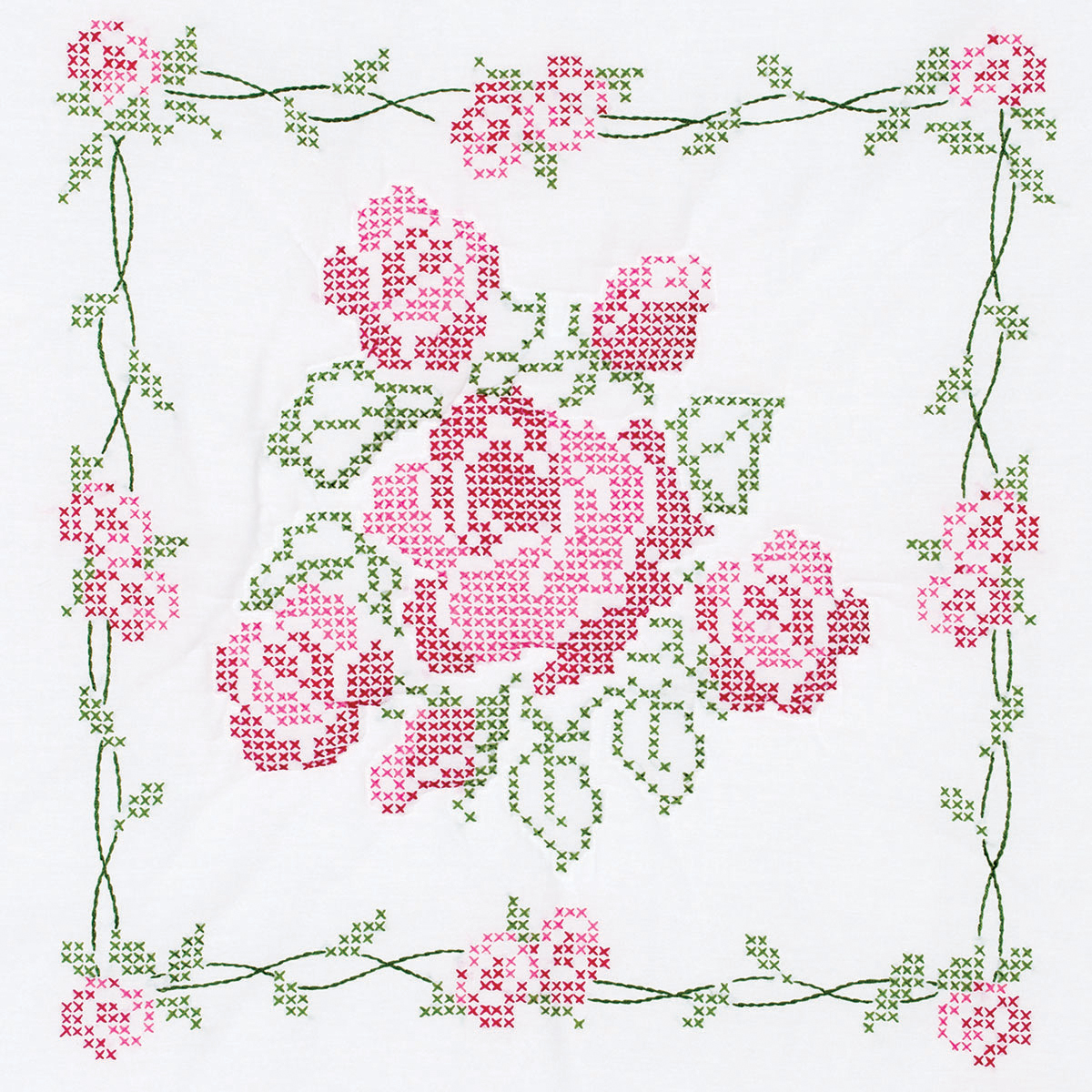 "Jack Dempsey-Stamped White Quilt Blocks, 18"" x 18"", 6pk, Rose Bouquet"