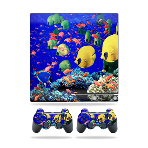 Skin Decal for Sony Playstation 3 PS3 Slim + 2 controllers sticker Under the Sea